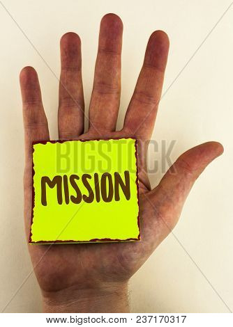 Handwriting Text Writing Mission. Concept Meaning Corporate Goal Important Assignment Business Purpo