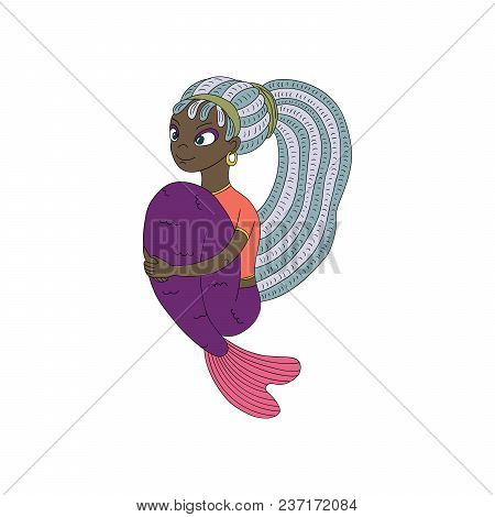 Hand Drawn Vector Illustration Of A Funny Smiling Teenage Dark Skinned Mermaid With Dreadlocks, In A