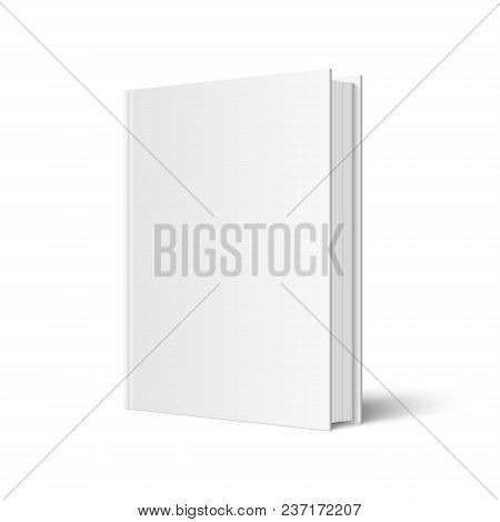Vector Mock Up Of Standing Book With White Blank Cover Isolated. Closed Vertical Hardcover Book, Cat