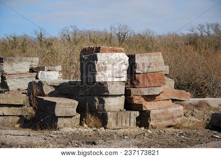 Stacked Big Limestone Blocks From A Quarry