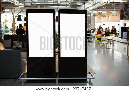 Lcd Screens For Advertising In A Restaurant. White Screen, You Can Insert Your Picture Here