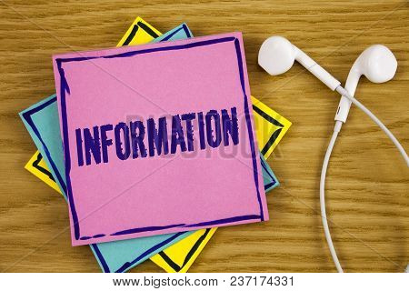 Conceptual Hand Writing Showing Information. Business Photo Showcasing Facts Learned About Something