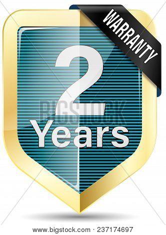 Metallic Gold Glossy Web Shield White Background