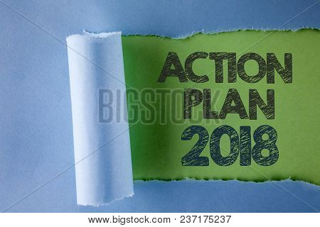 Conceptual Hand Writing Showing Action Plan 2018. Business Photo Text To Do List In New Year New Yea