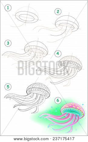 Page Shows How To Learn Step By Step To Draw A Swimming Medusa. Developing Children Skills For Drawi