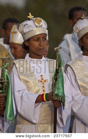 Christian Orthodox Devotees Celebrating At The Timket Festival.