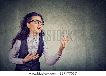 Desperate Business Woman Screaming Asking For Help Forgiveness