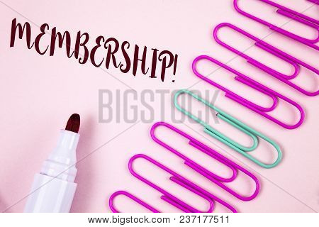 Writing Note Showing  Membership. Business Photo Showcasing Being Member Part Of A Group Or Team Joi