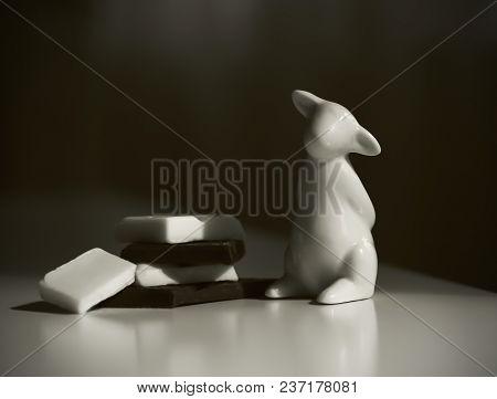 White Lamb Statuette Black And White Chocolate, Sepia Toned