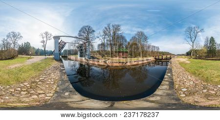 Panorama 360 Angle View Near Gateway Lock Construction On River, Canal For Passing Vessels At Differ