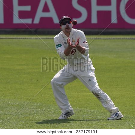 LONDON, ENGLAND - APRIL 21 2018: captain Rory Burns of Surrey during Day Two of the Division One Specsavers County Championship match between Surrey and Hampshire at the Kia Oval Cricket Ground
