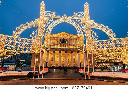 Moscow, Russia - December 23, 2016: Moscow Bolshoi Theatre Or Big Theatre In Russia.