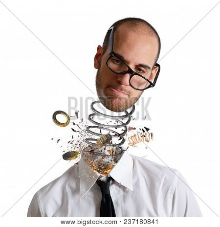 Stress And Overwork Concept. Explosion Of A Head Of A Tired Businessman