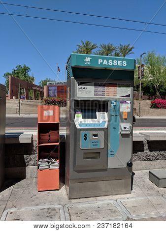 Phoenix, Az, Usa - April 17, 2018: Valley Metro Light Rail And Buss Passes Vending Machine With Vali
