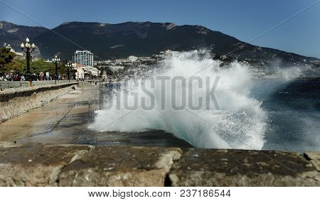 Waves On The Yalta Quay,landscape Of The City Waterfront