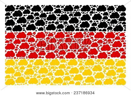 Germany State Flag Concept Designed Of Cloud Elements. Vector Cloud Elements Are United Into Concept