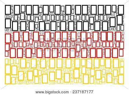 Germany Flag Pattern Designed Of Contour Rectangle Elements. Vector Contour Rectangle Icons Are Comp