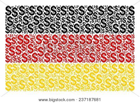 German State Flag Collage Done Of Dollar Elements. Vector Dollar Icons Are Organized Into Geometric
