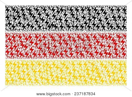 German Flag Collage Composed Of Electric Bolt Elements. Vector Electric Bolt Elements Are United Int