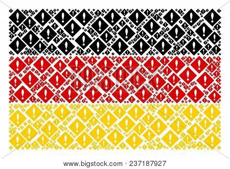 German State Flag Pattern Organized Of Error Icons. Vector Error Icons Are Combined Into Conceptual