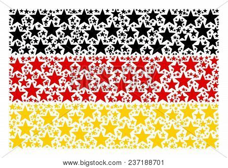 Germany Flag Collage Composed Of Fireworks Star Elements. Vector Fireworks Star Pictograms Are Unite