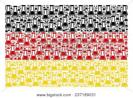 German Flag Mosaic Made Of Flask Icons. Vector Flask Items Are United Into Conceptual German Flag Co