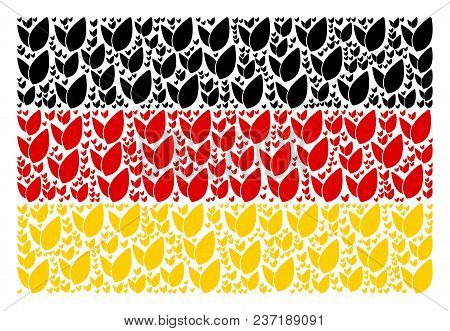 German State Flag Collage Done Of Floral Sprout Design Elements. Vector Floral Sprout Items Are Comb