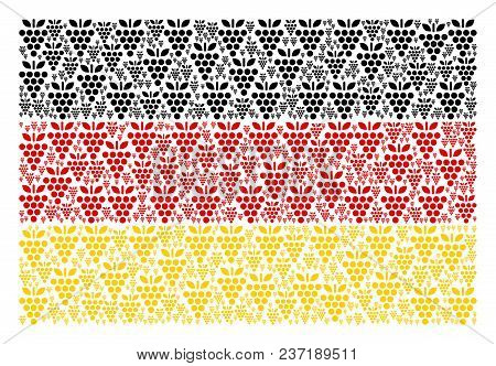 German Flag Composition Done Of Grapes Elements. Vector Grapes Design Elements Are Organized Into Co