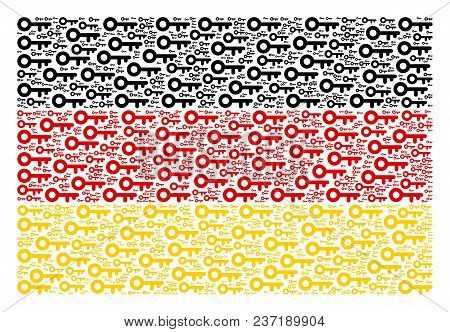 German State Flag Collage Designed Of Key Pictograms. Vector Key Elements Are United Into Conceptual