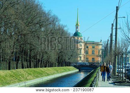 St. Petersburg, Russia - April, 15, 2018: view of the Saint Michael's Castle in St. Petersburg