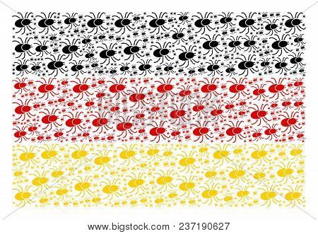 Germany Flag Concept Designed Of Mite Tick Icons. Vector Mite Tick Design Elements Are Organized Int