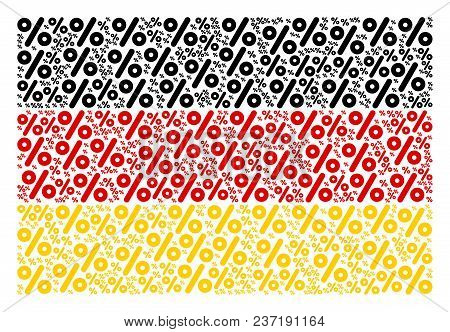 German State Flag Pattern Made Of Percent Elements. Vector Percent Items Are Organized Into Mosaic G