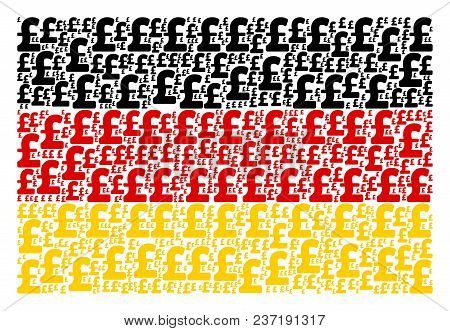 Germany State Flag Composition Composed Of Pound Sterling Icons. Vector Pound Sterling Elements Are