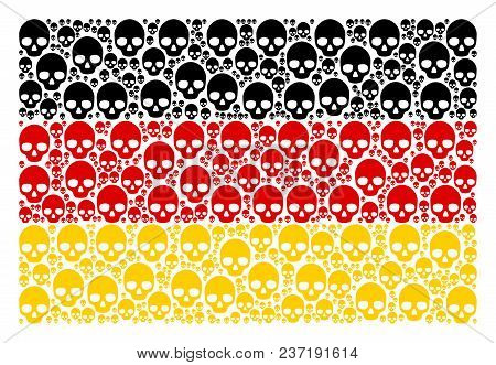 Germany Flag Composition Organized Of Skull Pictograms. Vector Skull Icons Are Combined Into Mosaic