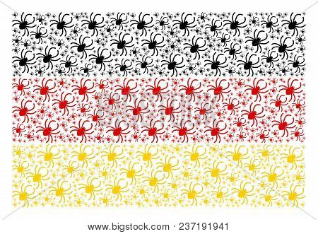 German Flag Pattern Composed Of Spider Icons. Vector Spider Pictograms Are Organized Into Mosaic Ger
