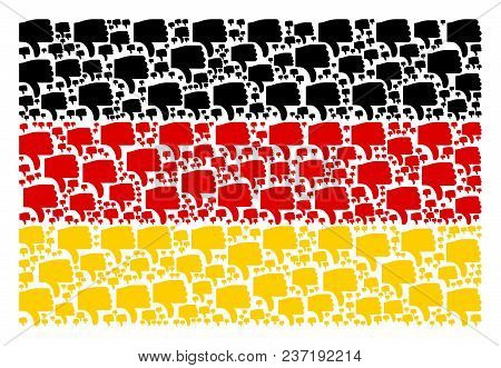 German State Flag Composition Combined Of Thumb Down Design Elements. Vector Thumb Down Pictograms A