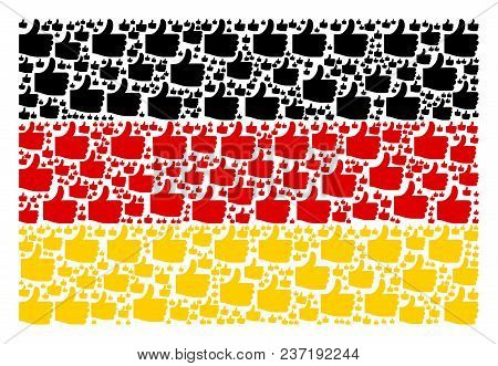 German Flag Composition Created Of Thumb Up Design Elements. Vector Thumb Up Elements Are United Int