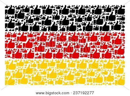 Germany Flag Concept Done Of Thumb Up Design Elements. Vector Thumb Up Elements Are Organized Into C