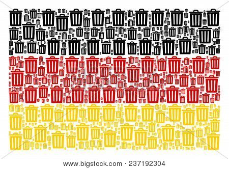 German Flag Collage Constructed Of Trash Bin Pictograms. Vector Trash Bin Elements Are Composed Into