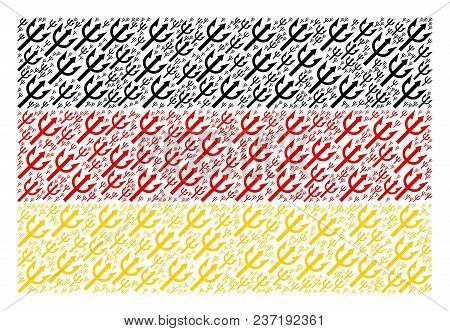 Germany State Flag Pattern Constructed Of Trident Fork Elements. Vector Trident Fork Icons Are Organ
