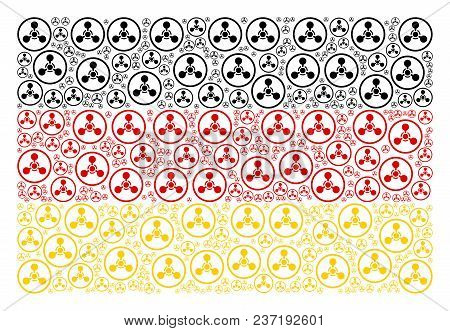 German State Flag Composition Created Of Wmd Nerve Agent Chemical Warfare Icons. Vector Wmd Nerve Ag