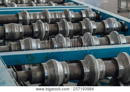 Profiling Rolls Of Sheet Forming Machine Close Up.