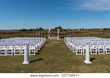 Marsh Wedding Setup On Sunny Afternoon Before The Ceremony