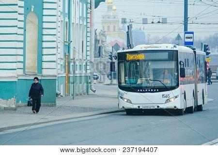 St. Petersburg, Russia - April, 17, 2018: bus on the street of St. Petersburg