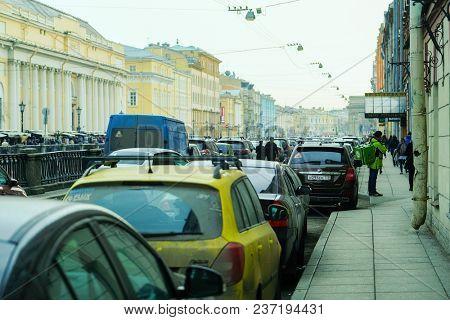 St. Petersburg, Russia - April, 17, 2018: cars on a parking in St. Petersburg's street