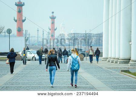 St. Petersburg, Russia - April, 17, 2018: Neva embankment near Winter Palace in St. Petersburg's street