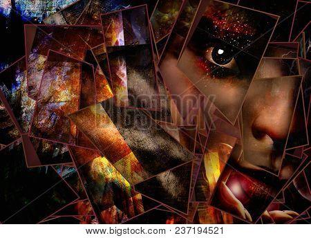 Dark Emotion Face. 3D rendering