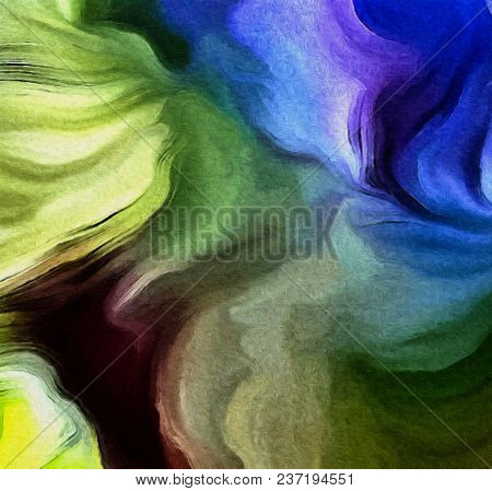 Colorful abstract painting. Smooth brush strokes. 3D rendering