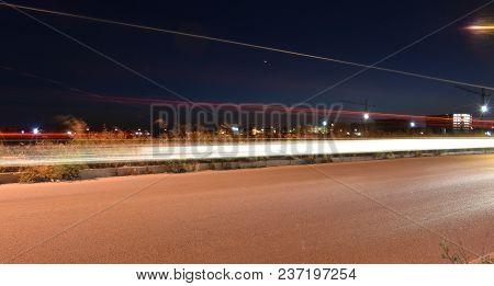 Night Traffic On Urban Road, Long Exposure