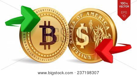 Bitcoin To Dollar Currency Exchange. Bitcoin. Dollar Coin. Cryptocurrency. Golden Coins With Bitcoin